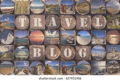 Travel blog background concept on a wooden board