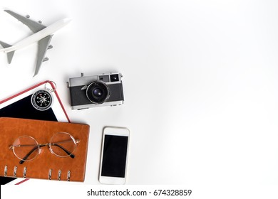Travel Blogger accessories isolated on white copy space