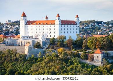 travel to Bratislava city - Bratislava Castle in evening