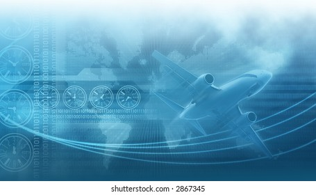 travel and business design background,landing airliner in the blue sky in the background clocks describing diferent times on earth and binary data codes, tech lines