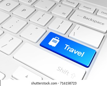 'Travel' button and the keyboard 3D illustration, 3D rendering