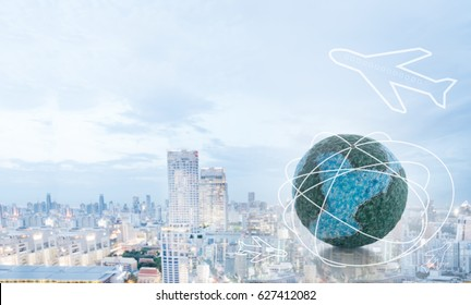 Travel by airplane, Air ticket agent Concept. Mock up the globe and International air flight icon with business city background.