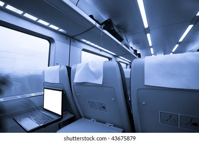 travel by train. interior of the speeding train.