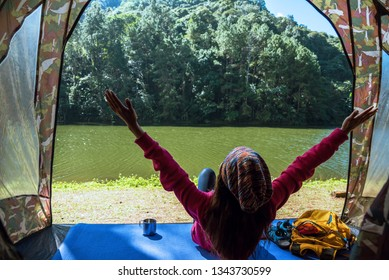 travel camping tents in pine tree forest by the lake at Pang Oung Lake Mae hong son, Thailand.