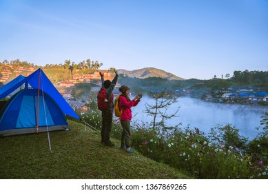 Travel, camping in the winter, Outdoor relaxation, Romantic couples.
