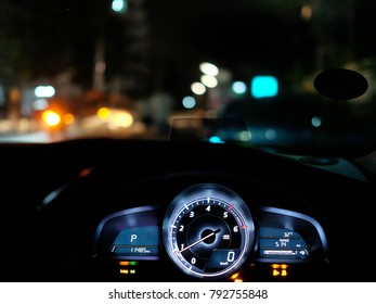 Travel in car. Element of design. Car console panel led inside of a car at night