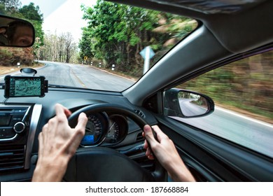 Travel in car on the mountain road