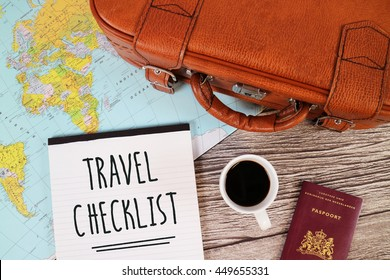 Travel Checklist, Holiday Checklist, List for Travelling, Travel Blog Content. Suitcase, Coffee, Passport, World Map.