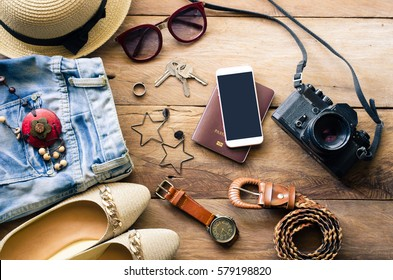 Travel Clothing accessories apparel along with women for the trip