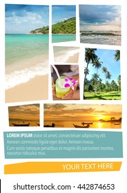 Travel collage. Can be used for cover design, brochures, flyers. With space for text