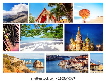 Travel collage. Different destination from over the world for vacation and travel. With space for text