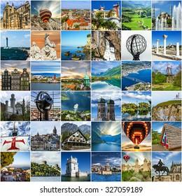 Travel collage. European landmarks. Norway, Portugal, Madeira, Greece, Turkey, Germany, Montenegro, Ukraine, Crimea. European landmarks