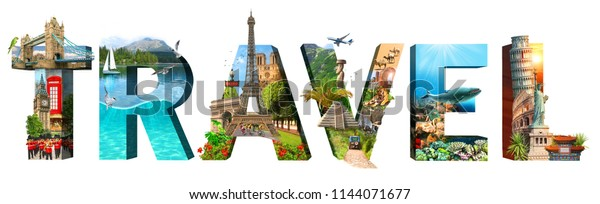 Travel. Collage of famous places of the world. Element for Advertisement, postcard, poster, and more. Isolated on white