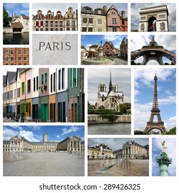 Travel collage from France. Collage includes famous places like Paris, Amiens, Chartres, Dijon, Lille and Auxerre.