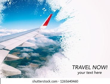 Travel collage template with airplane in the sky. With space for text