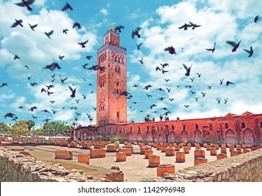 Travel concept around the world.Koutoubia mosque, Marrakech, Morocco.Landmark and famous places and architecture