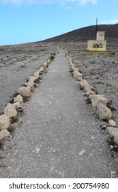 Travel Concept Background - Pathway in the Volcanic Desert Tenerife Canaty Islands Spain