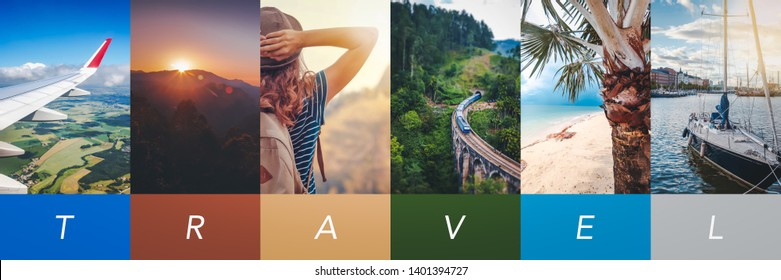 Travel concept background. Summer concept.  Header format with copyspace, vertical stories collection