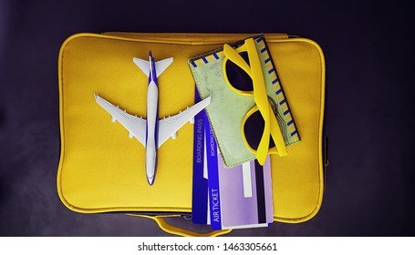 Travel concept. Travel bag with documents and tickets.