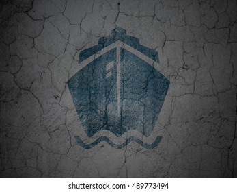 Travel concept: Blue Ship on grunge textured concrete wall background