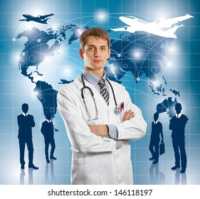 Travel concept. Businessman with virtual background