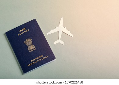 travel concept , Indian passport with paper airplane