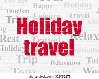 Travel concept: Painted red text Holiday Travel on White Brick wall background with  Tag Cloud