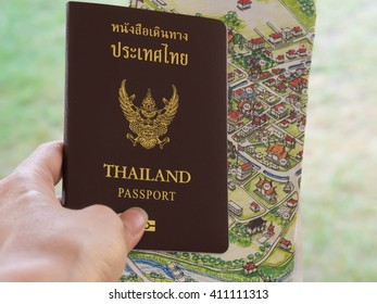 travel concept,  passports on the map of Thailand