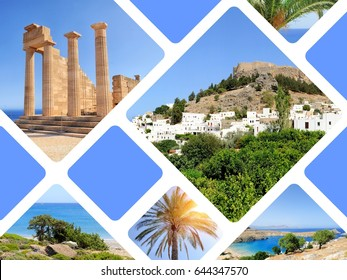 Travel concept with photos collage Greece island Rhodos