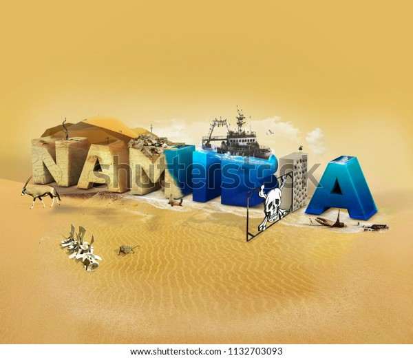 Travel concept with photos collage wild african places. Namibia - 3D text caption with tourist places.