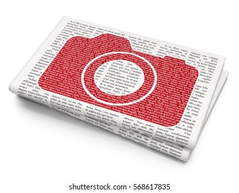 Travel concept: Pixelated red Photo Camera icon on Newspaper background, 3D rendering