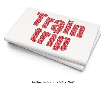 Travel concept: Pixelated red text Train Trip on Blank Newspaper background, 3D rendering