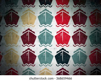 Travel concept: Ship icons on Digital Paper background