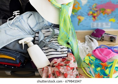 Travel concept, straw hat and summer accessories