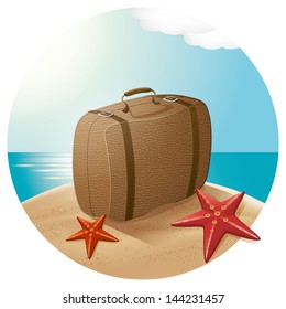 Travel concept. Suitcase at the beach with the sea stars
