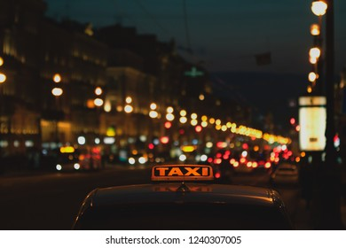 travel concept, taxi car in the night city