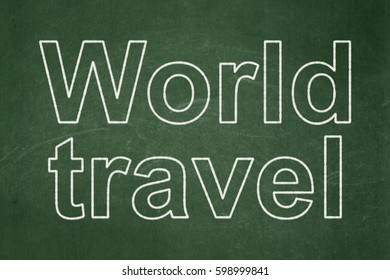 Travel concept: text World Travel on Green chalkboard background