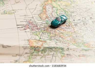 Travel concept. Toy car on map of Europe.