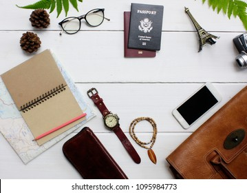 Travel Concepts Top view and copy apace closeup Travel Equipment  White wood background ,Top view / Flat lay accessoire to travel