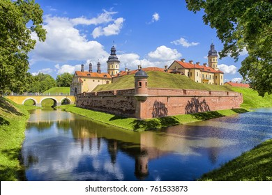 Travel Concepts and Tourist Destinations. Renowned Nesvizh Castle as a Profound Example of Medieval Ages Heritage and Residence of the Radziwill Family.Horizontal Image