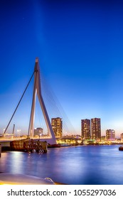Travel Concepts. View of Unique and Beautiful Erasmus Bridge in Rotterdam. Shot During Blue Hour.Vertical Composition