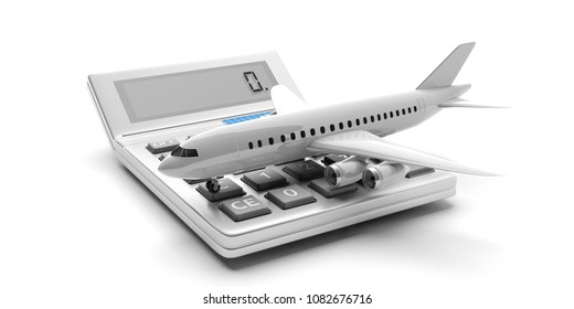 Travel cost calculation concept. Blank commercial airplane and a calculator isolated on white background. 3d illustration