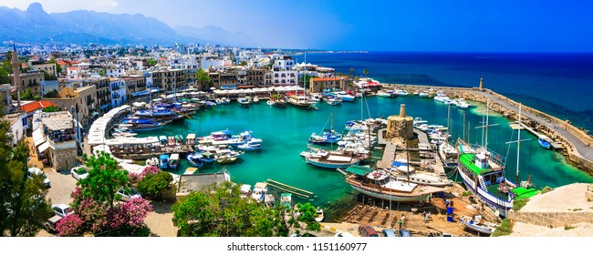 travel in Cyprus - turkish part Kyrenia town. View of old port