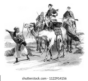 Travel in the desert by horace vernet, vintage engraved illustration. Magasin Pittoresque 1844.