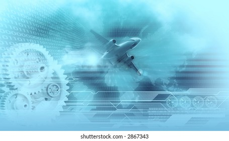 travel design background landing airliner in the background digital world map,gears,binary data codes and wireframe tech lines