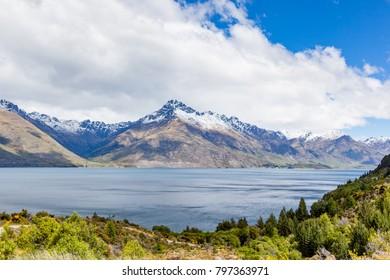 Travel destination, lake and alpine landscape
