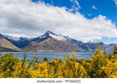 Travel destination, lake and alpine mountain landscape