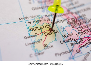 Map of ireland images stock photos vectors shutterstock travel destination pin on the map ireland on atlas world map gumiabroncs Image collections