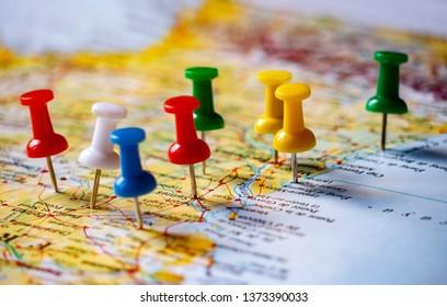 Travel destination points, close up