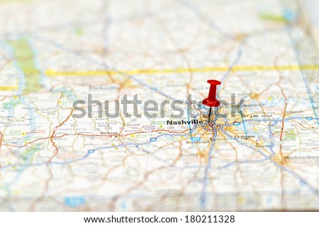 Travel Destination Road Map Nashville Area Stock Photo (Edit Now ...